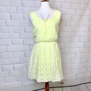 Neon Yellow Lace Dress by Express